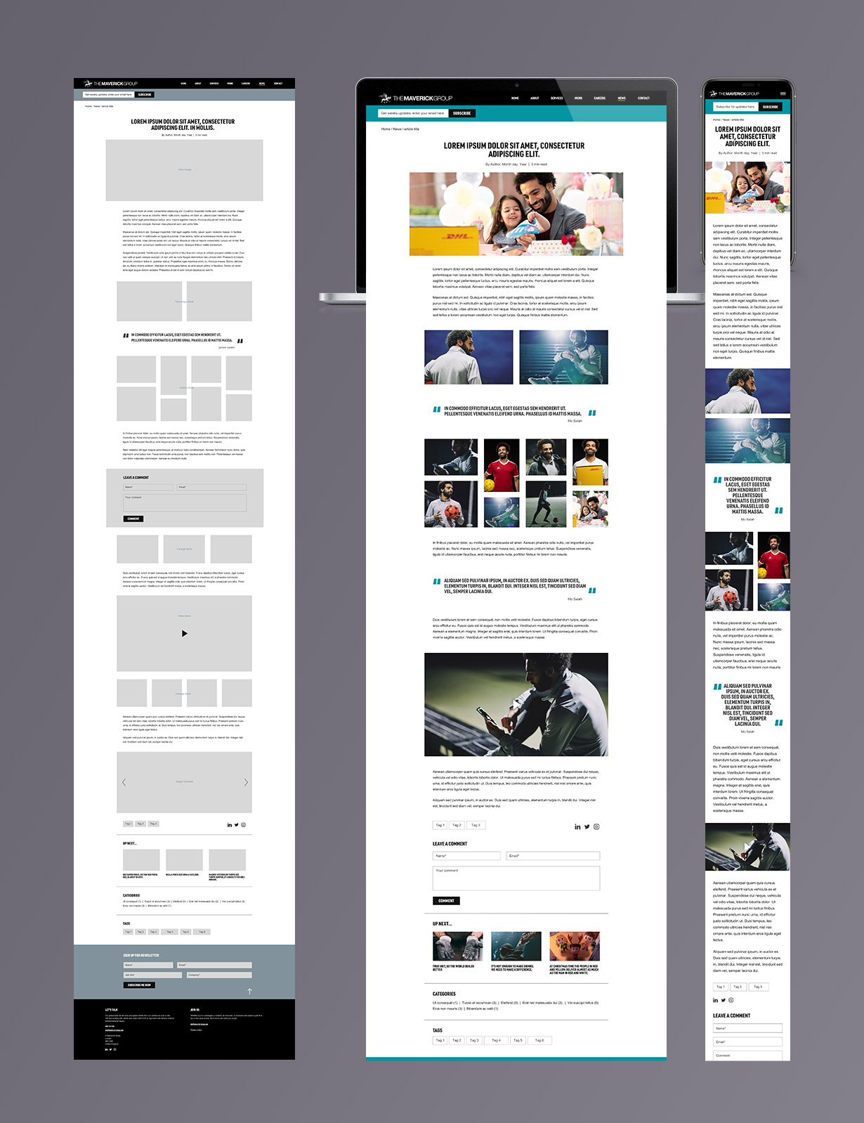 Maverick Group blog article page UX and UI designs