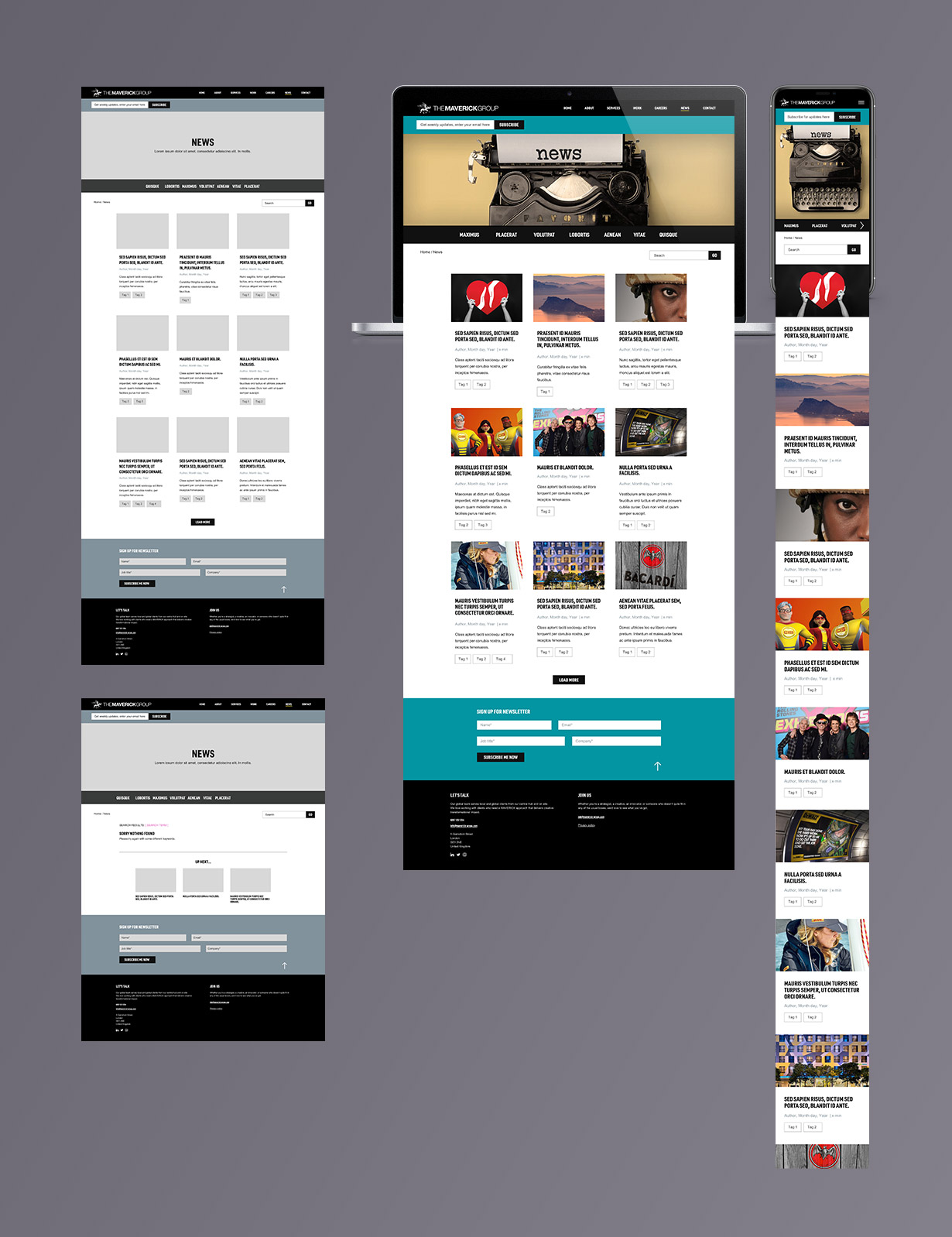 Maverick Group blog category page UX and UI designs