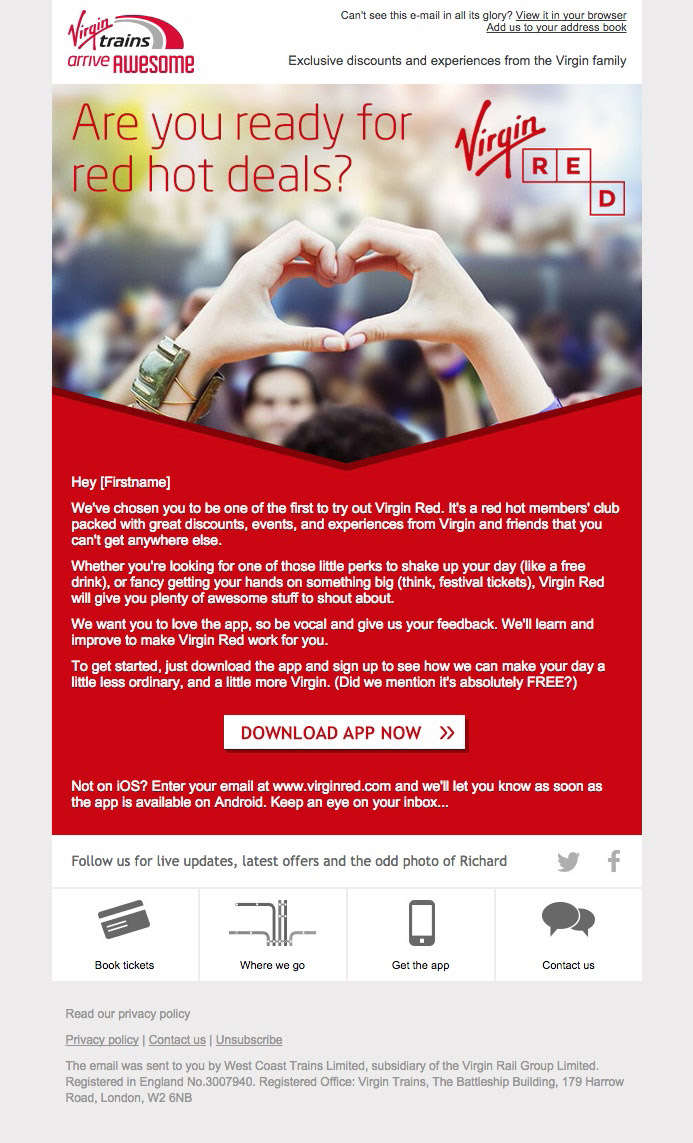 Virgin Red invite email